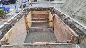 Rabattement de nappe par pointes filtrantes pour la pose de containers enterrés